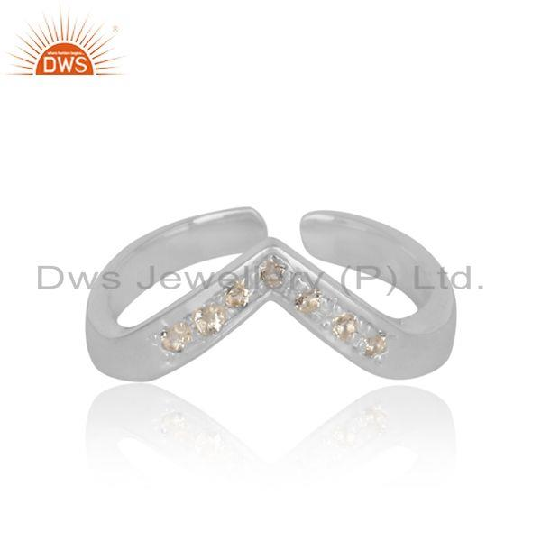 Designer exquisite sterling silver ring studded with white topaz