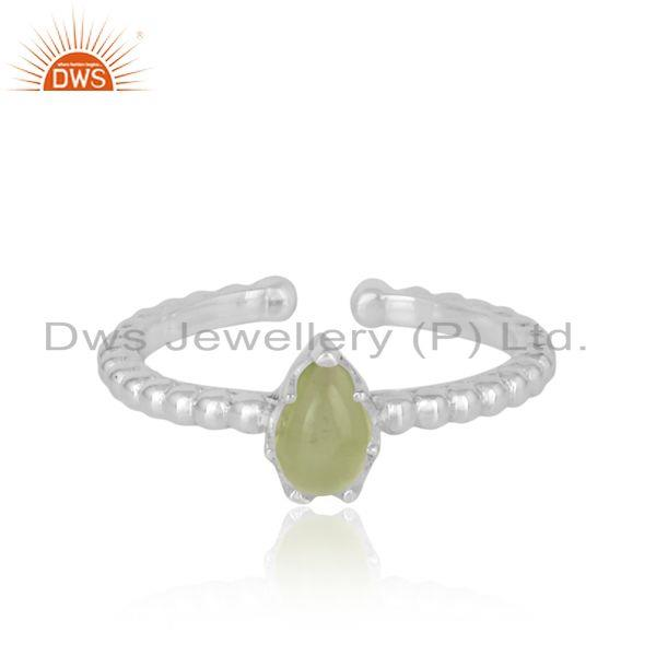Designer textured dainty sterling silver 925 ring with peridot