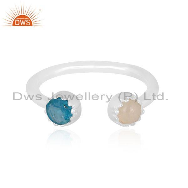 Ethiopian opal and neon apatite set fine 925 silver ring