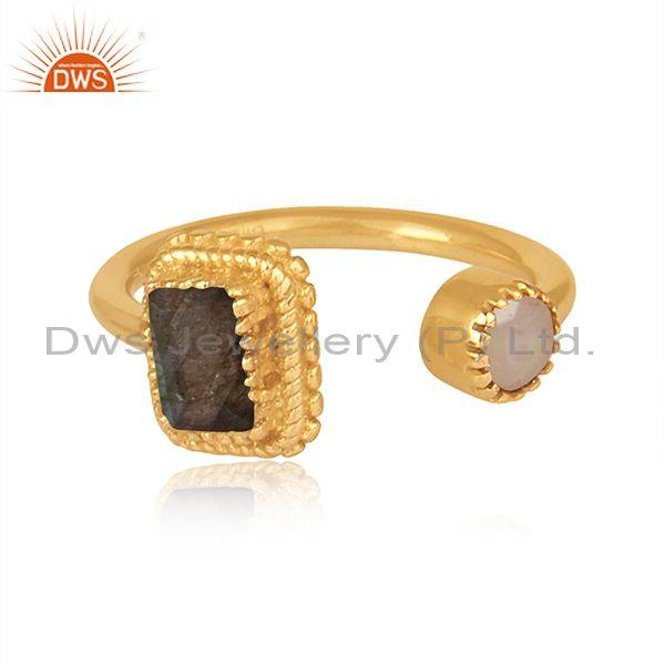 Labradorite and ethiopian opal set gold on 925 silver ring
