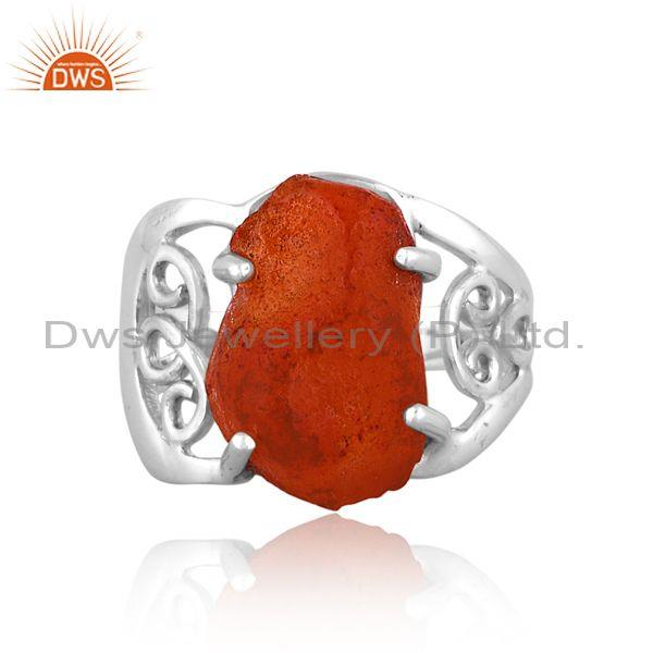 Rough cut carnelian set fine 925 sterling silver carved ring