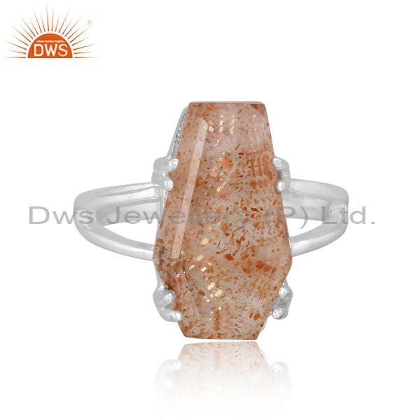 Doublet sunstone crystal set fine 925 silver classic ring