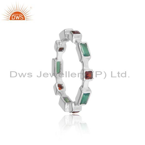 Green onyx and red garnet set fine 925 sterling silver ring