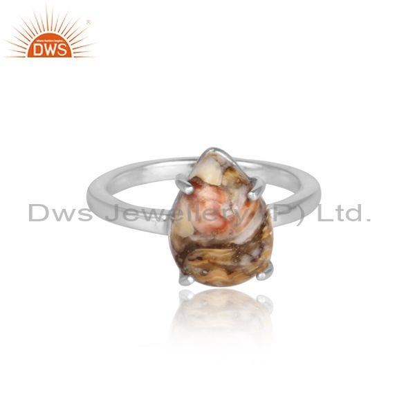 Mojave copper oyster turquoise fine 925 silver abstract ring
