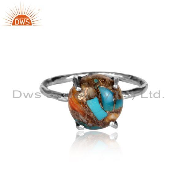 Mojave copper bumblebee turquoise oxidized silver fancy ring