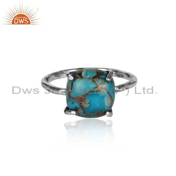 Mojave copper turquoise set square oxide 925 silver ring