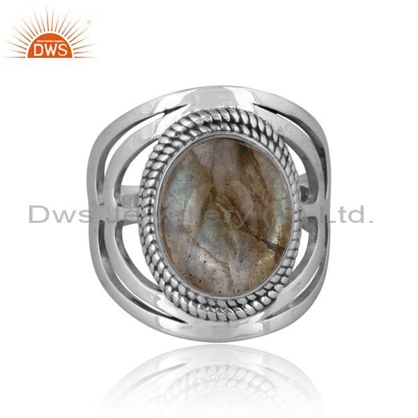 Doublet apache gold crystal set oxidized 925 silver ring