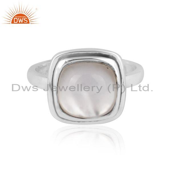 Square doublet mother of pearl crystal oxidized silver ring