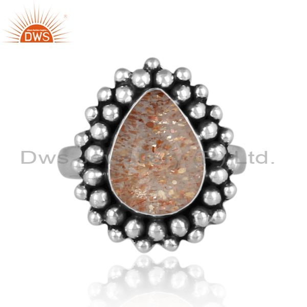 Pear cut doublet sunstone crystal oxide silver ethnic ring