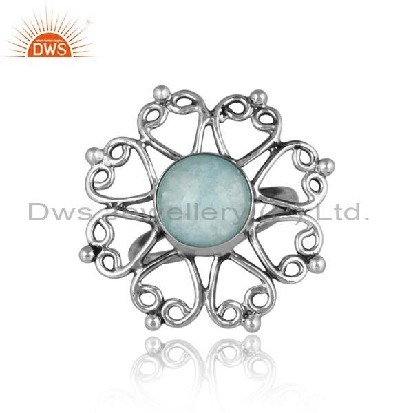 Doublet amazonite crystal set oxidized silver floral ring