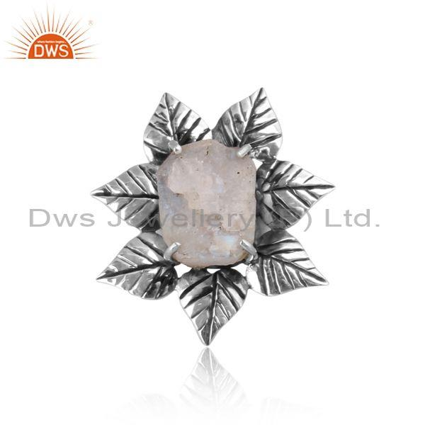 Handmade rainbow moon stone oxide silver floral pattern ring