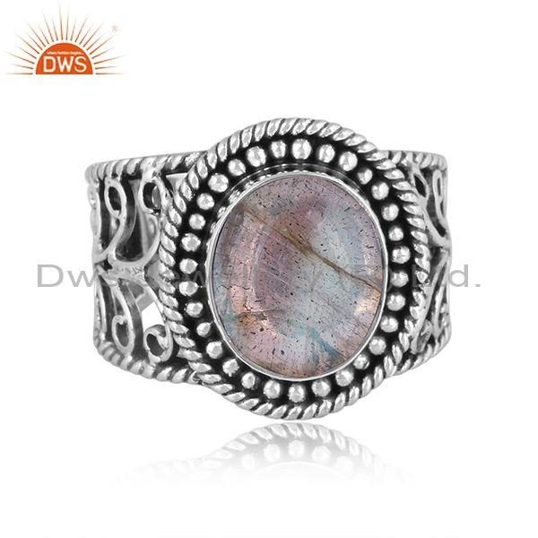 Doublet labradorite crystal oxide silver ethnic band ring