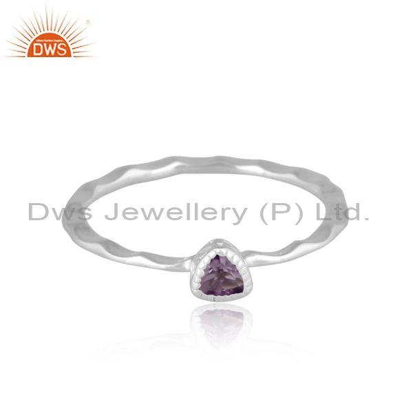 Triangle cut pink amethyst set fine silver handhammered ring