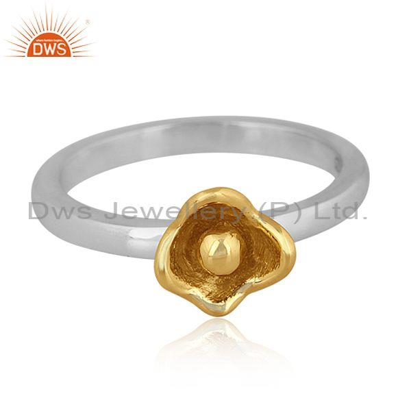 Gold on fine 925 sterling silver classic floral design ring