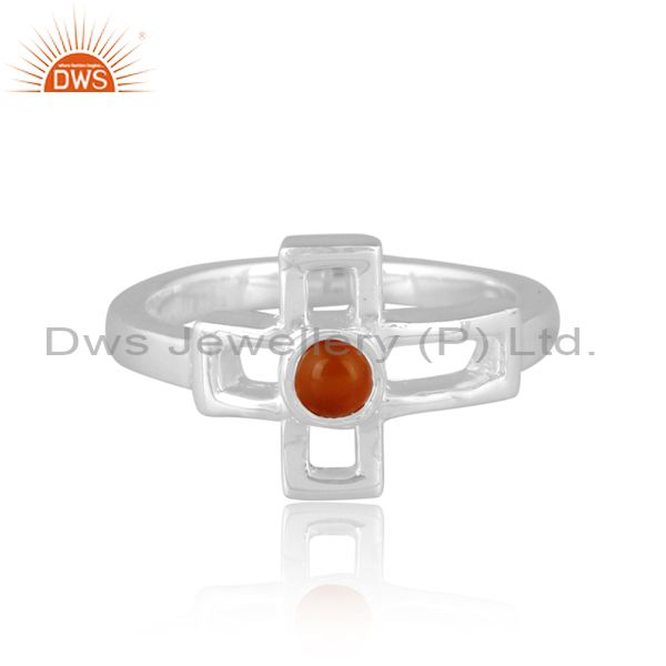 Carnelian set fine sterling silver classic statement ring