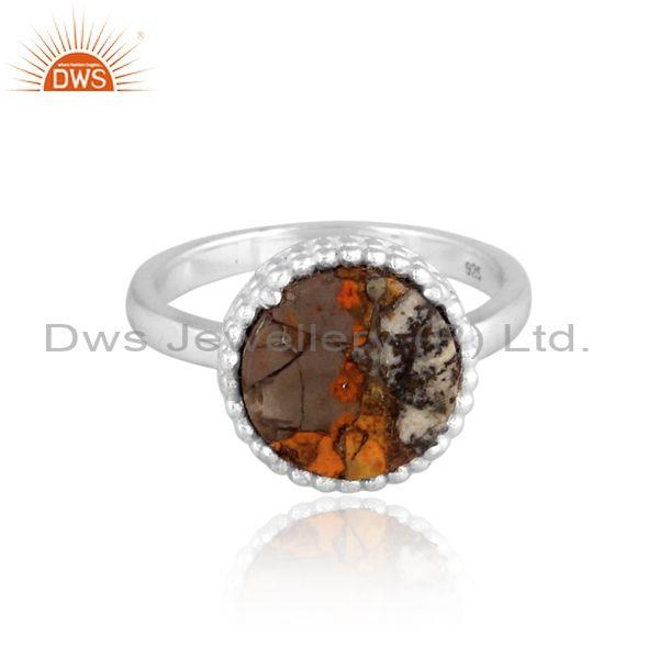 Mojave copper bumblebee turquoise set fine silver round ring