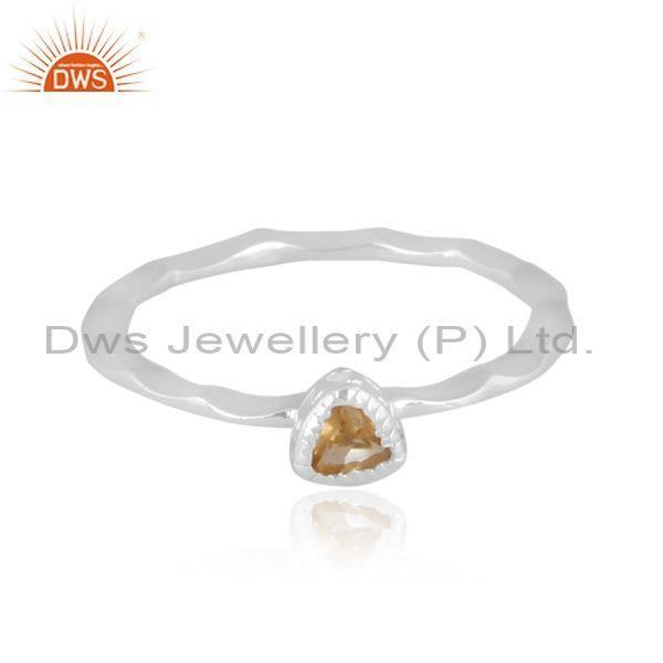 Fine 925 silver triangle cut citrine set handhammered ring
