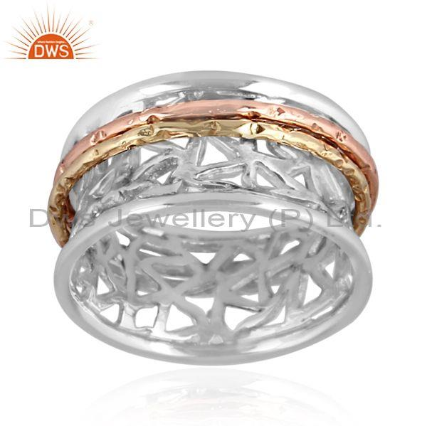 Fine sterling silver handmade intricate pattern band ring