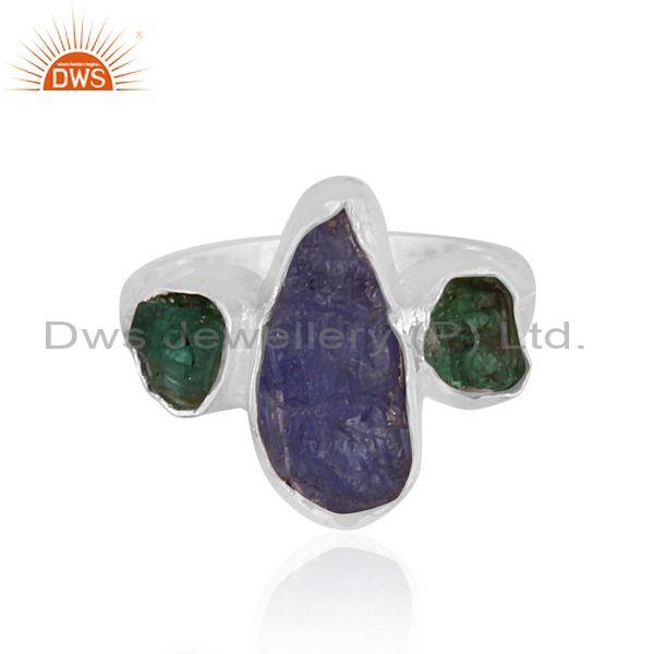 Emerald and tanzanite set fine silver abstract fancy ring