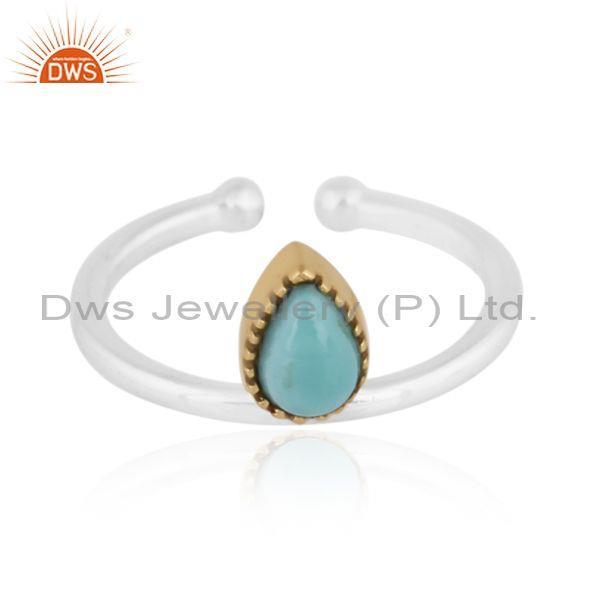 Pear cut arizona turquoise gold on fine sterling silver ring