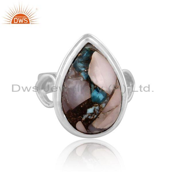 Pear cut mojave copper pink opal turquoise fine silver ring