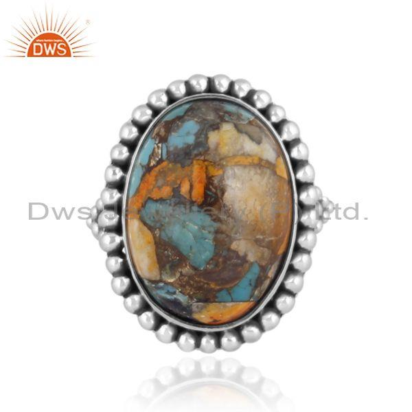 Mojave copper bumblebee turquoise set fine 925 silver ring