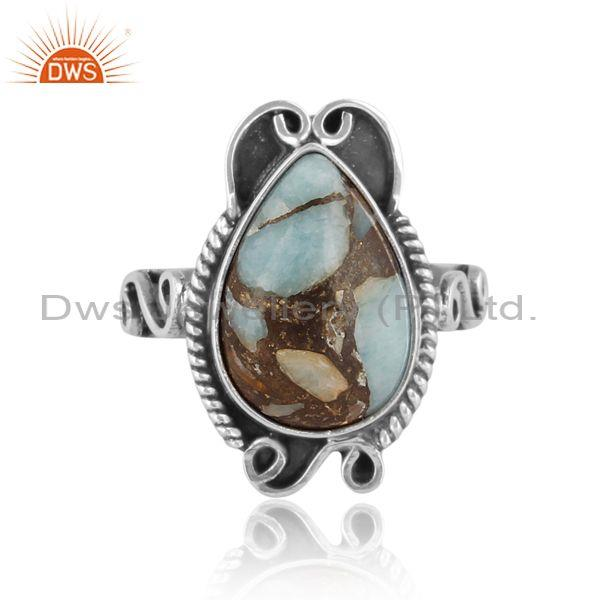 Mojave copper amazonite set oxidized sterling silver ring