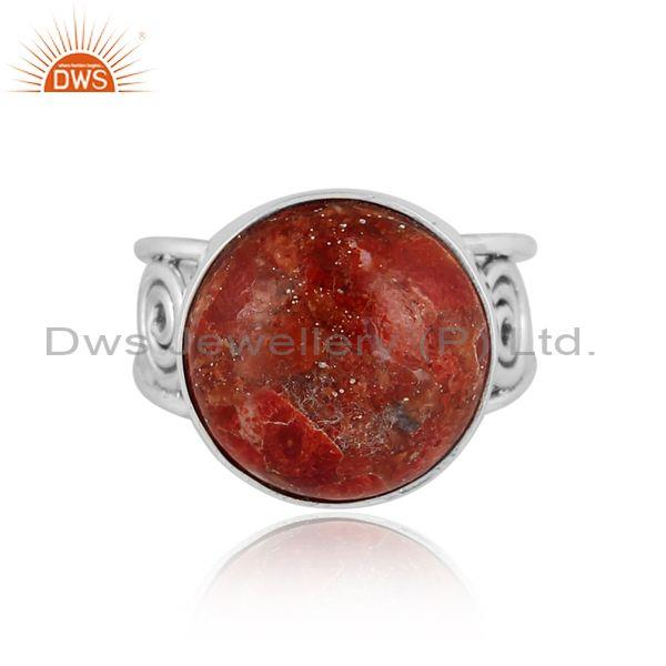 Round sponge coral set oxidized 925 sterling silver ring