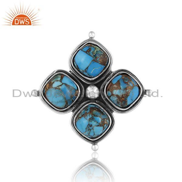 Mojave copper turquoise floral oxidized 925 silver ring