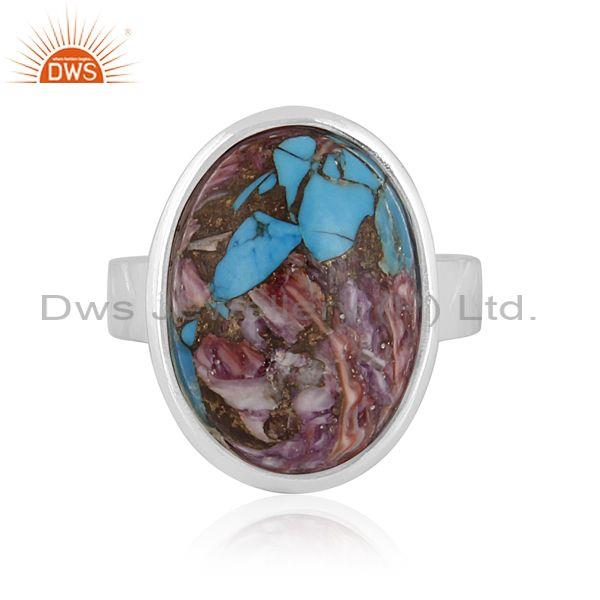 Mojave copper purple oyster turquoise 925 silver ring