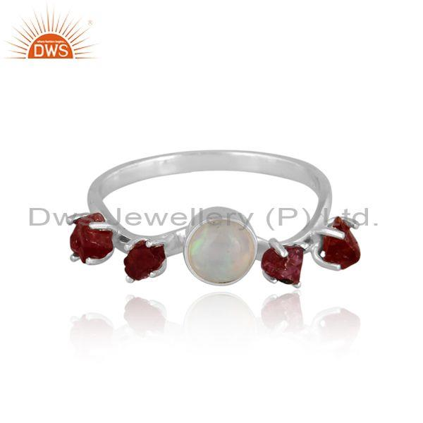 Fine sterling silver ethiopian opal and spinel ruby set ring