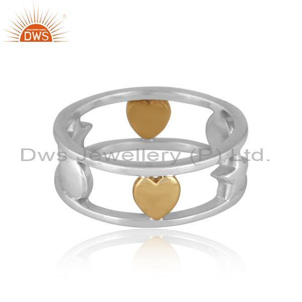 Handmade gold on fine 925 silver designer double band ring