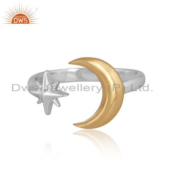 Gold on fine 925 silver moon and star classic designer ring
