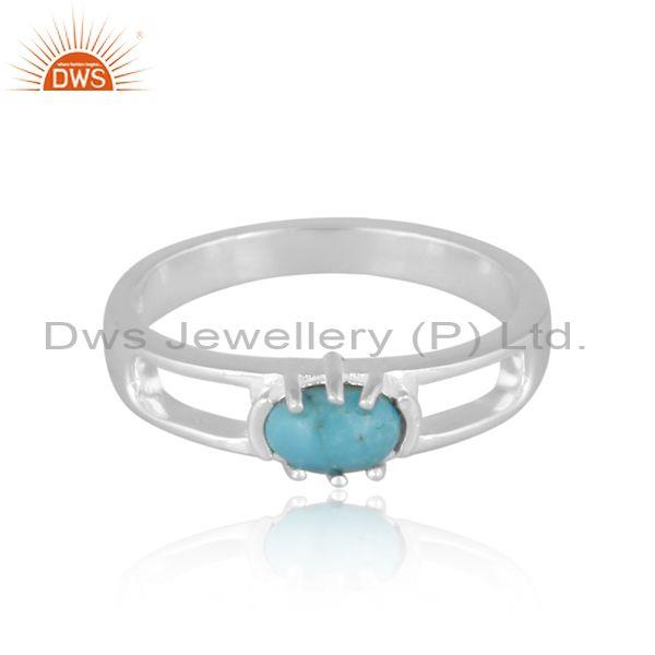 Oval arizona turquoise set fine sterling silver classic ring