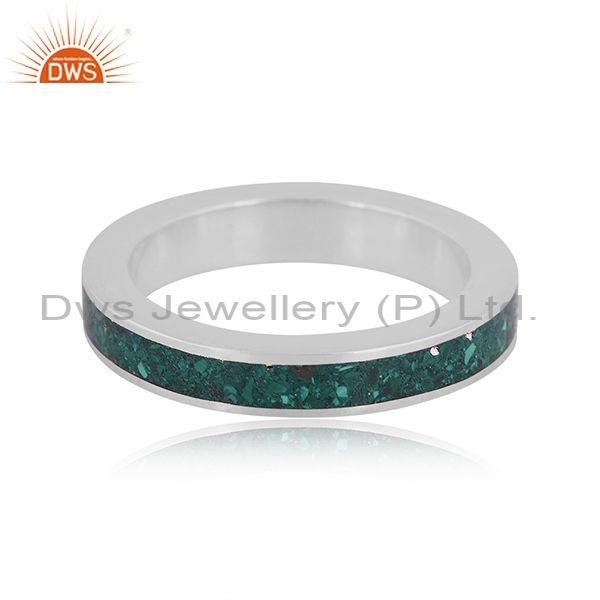 Malachite coin set fine sterling silver classic band ring
