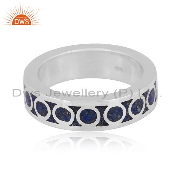 Lapis coin set fine 925 sterling silver design embossed ring