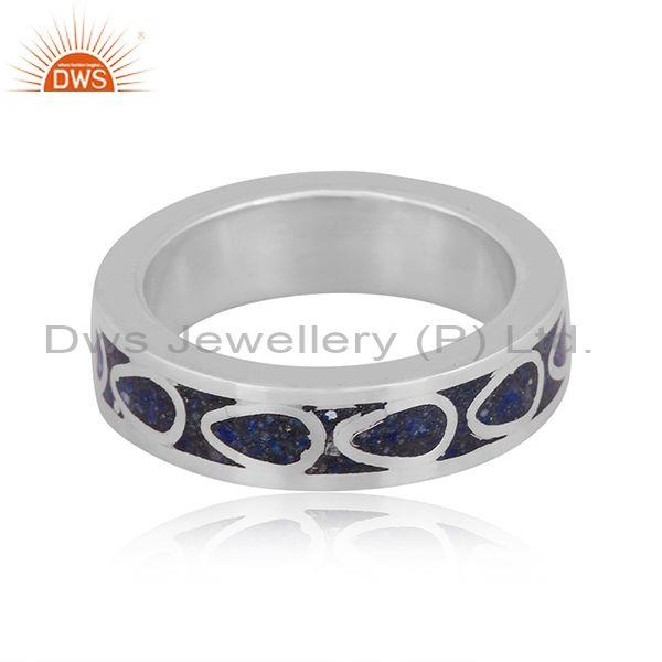 Fine 925 sterling silver lapis coin set design embossed ring