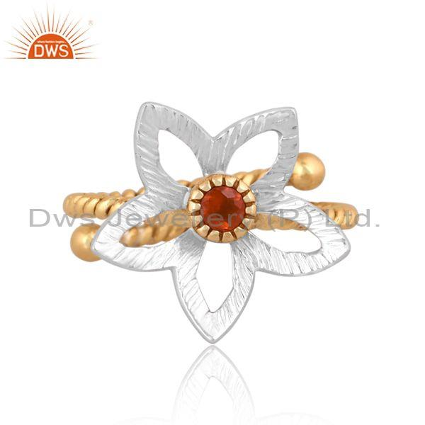 Carnelian set brass gold and white floral designer ring