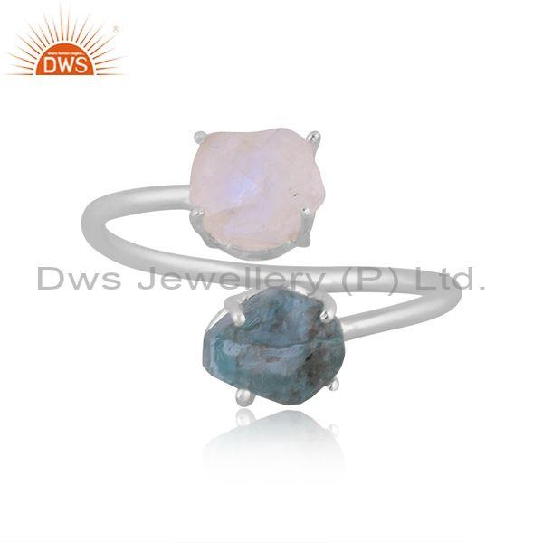 Apatite and rainbow moon stone set fine 925 silver ring
