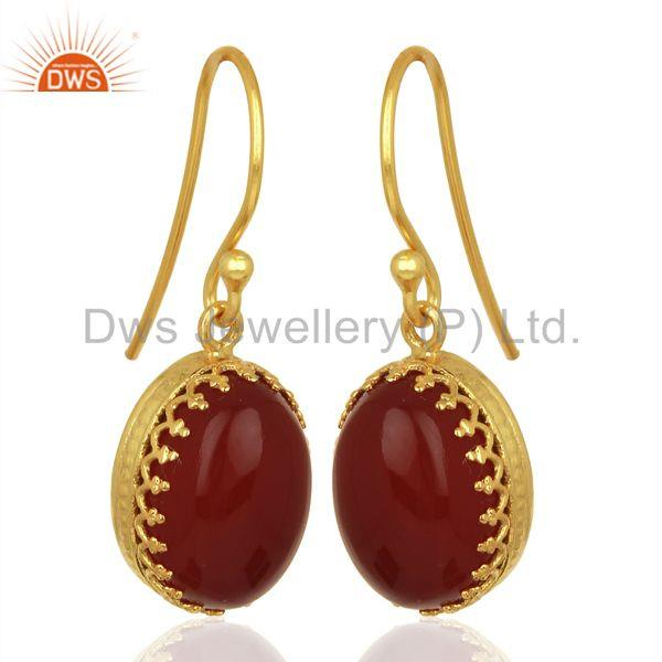 Exporter New Arrival Gold Plated Sterling Silver Carnelian Gemstone Earring
