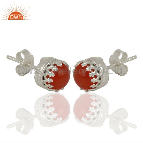 Exporter Wholesale Sterling Fine Silver Carnelian Gemstone Womens Stud Earrings