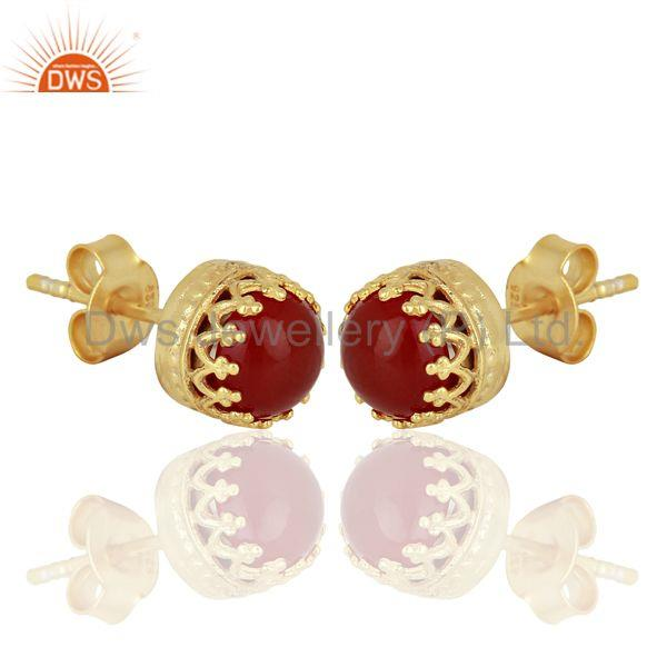 Exporter Crown Design Gold Plated 925 Silver Carnelian Gemstone Stud Earrings