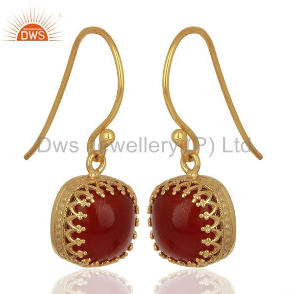 Exporter Yellow Gold Plated 925 Silver Carnelian Gemstone Designer Earrings