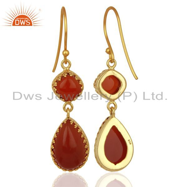 Exporter Yellow Gold Plated Silver Carnelian Gemstone Dangle Drop Earrings