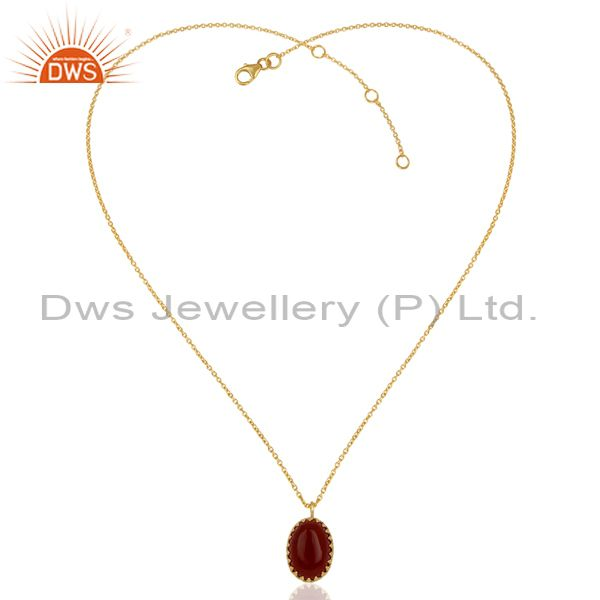 Exporter Carnelian Gemstone Gold Plated Silver Chain Pendant Jewelry Supplier