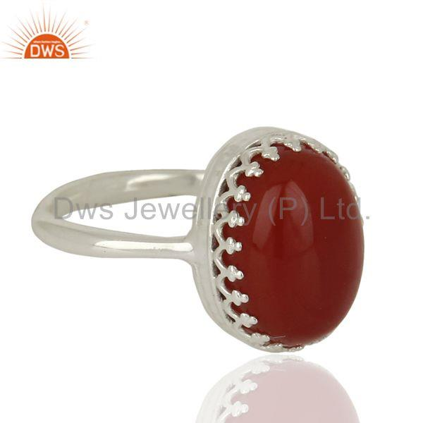 Exporter Handmade Sterling Fine Silver Crow Design Carnelian Gemstone Ring