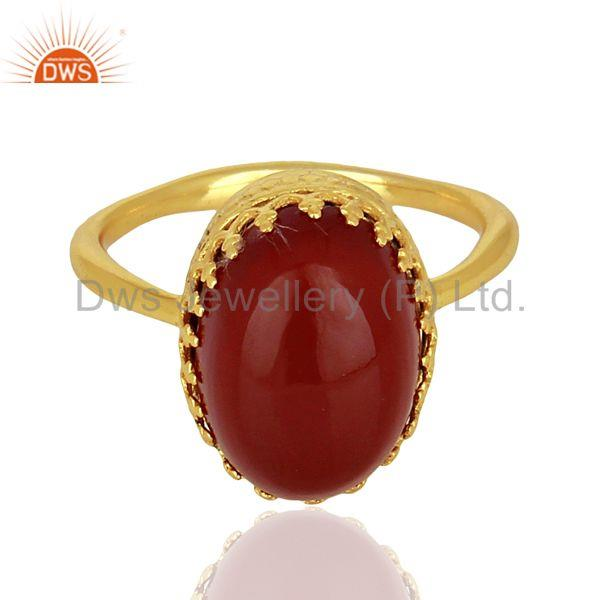 Exporter Crown Design Gold Plated Silver Ring Carnelian Gemstone Wedding Ring