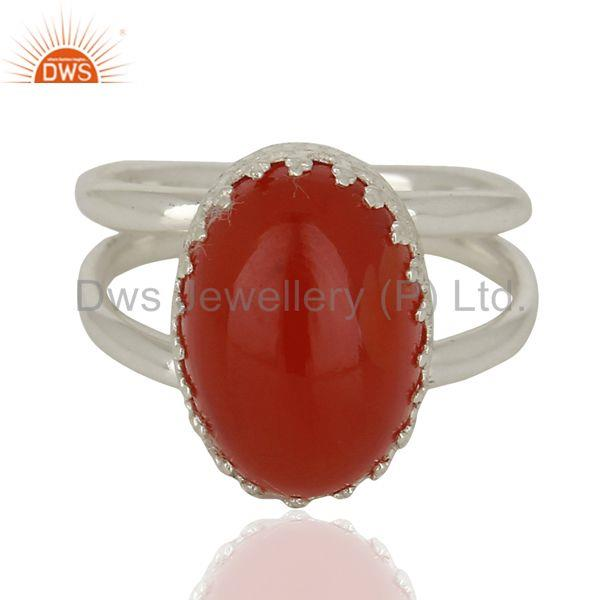 Exporter Sterling Fine Silver Crown Design Wedding Ring Carnelian Gemstone Ring