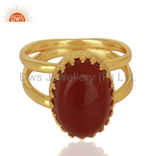 Exporter Gold Plated Silver Engagement Ring Carnelian Gemstone Ring Jewelry