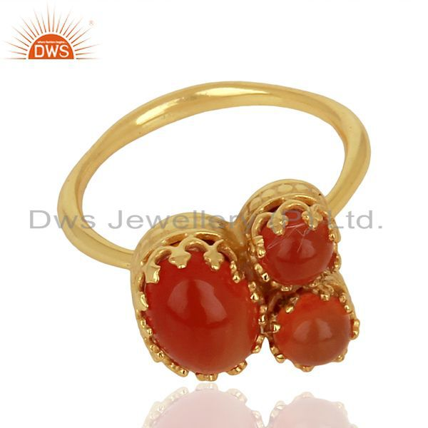 Exporter Indian Crown Design Gold Plated Silver Ring Carnelian Gemstone Rings